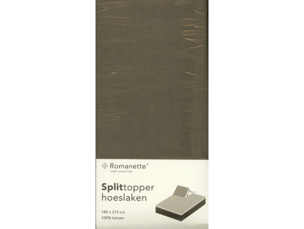 Splittopper hoeslaken antraciet